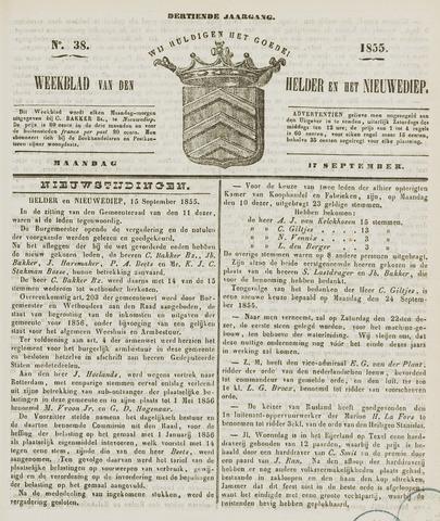 Weekblad van Den Helder en het Nieuwediep 1855-09-17