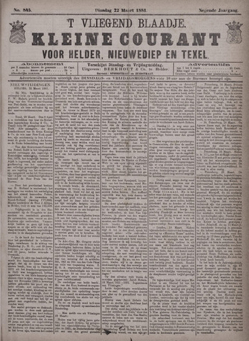 Vliegend blaadje : nieuws- en advertentiebode voor Den Helder 1881-03-22
