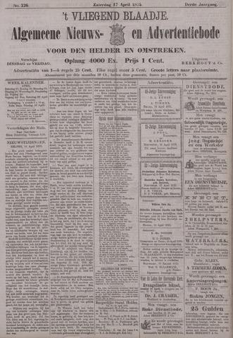 Vliegend blaadje : nieuws- en advertentiebode voor Den Helder 1875-04-17