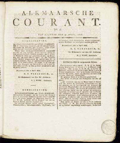 Alkmaarsche Courant 1816-04-15