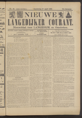 Nieuwe Langedijker Courant 1922-04-27