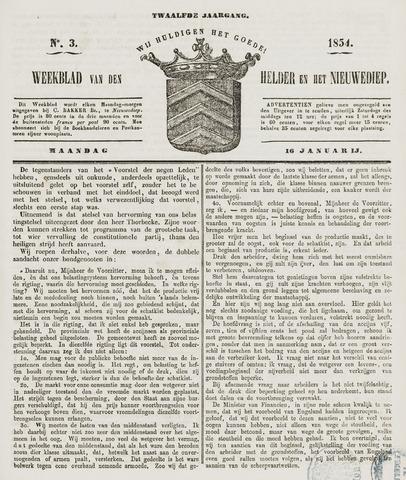Weekblad van Den Helder en het Nieuwediep 1854-01-16