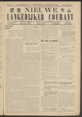 Nieuwe Langedijker Courant 1933-02-02