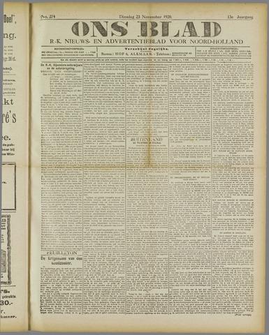 Ons Blad : katholiek nieuwsblad voor N-H 1920-11-23