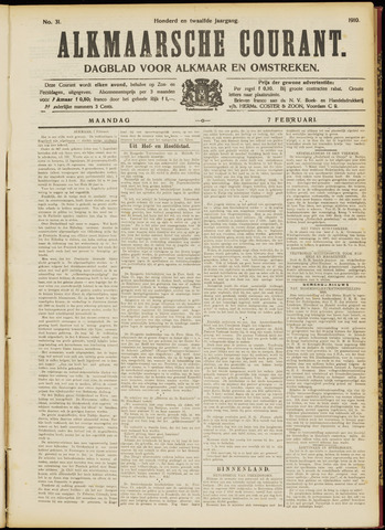 Alkmaarsche Courant 1910-02-07