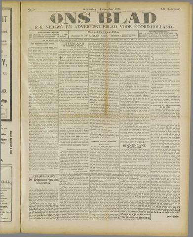 Ons Blad : katholiek nieuwsblad voor N-H 1920-12-01