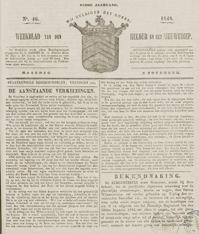 Weekblad van Den Helder en het Nieuwediep 1848-11-06