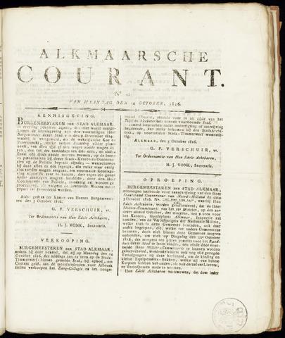 Alkmaarsche Courant 1816-10-14