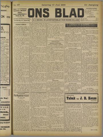 Ons Blad : katholiek nieuwsblad voor N-H 1916-06-10