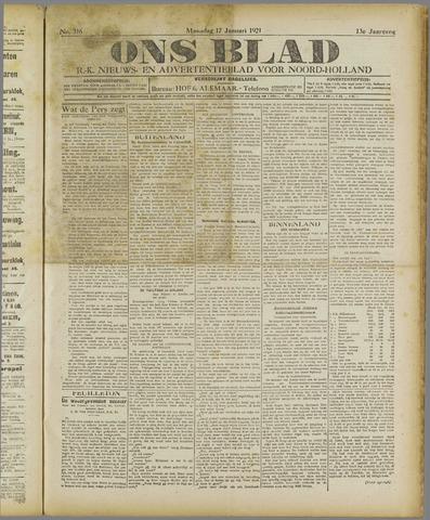 Ons Blad : katholiek nieuwsblad voor N-H 1921-01-17