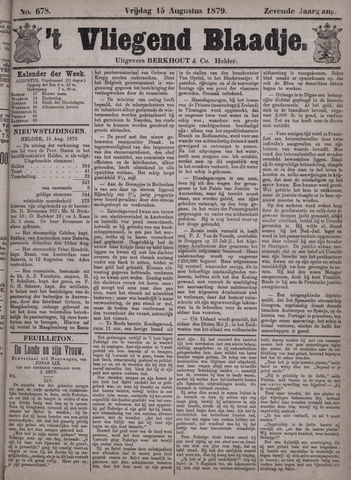 Vliegend blaadje : nieuws- en advertentiebode voor Den Helder 1879-08-15