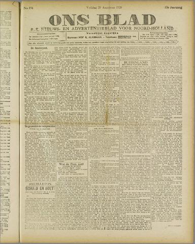 Ons Blad : katholiek nieuwsblad voor N-H 1920-08-20