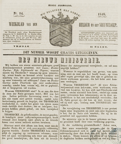 Weekblad van Den Helder en het Nieuwediep 1848-03-31