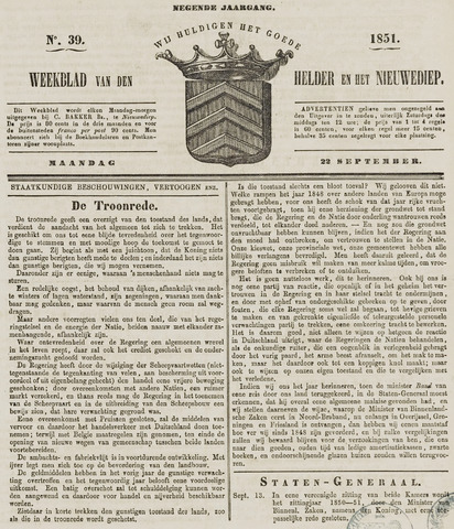Weekblad van Den Helder en het Nieuwediep 1851-09-22