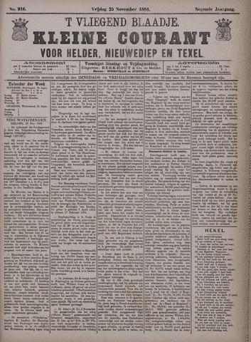 Vliegend blaadje : nieuws- en advertentiebode voor Den Helder 1881-11-25
