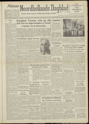 Nieuw Noordhollandsch Dagblad : voor Alkmaar en omgeving 1948-11-04