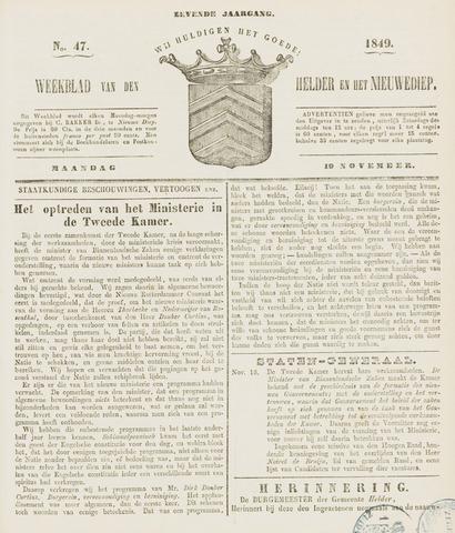 Weekblad van Den Helder en het Nieuwediep 1849-11-19
