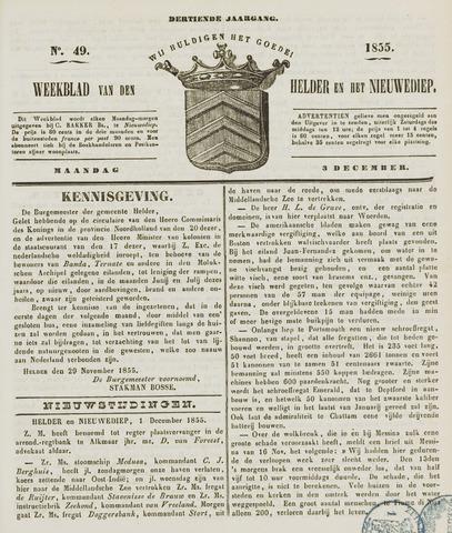 Weekblad van Den Helder en het Nieuwediep 1855-12-03