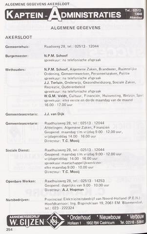 Adresboek van Akersloot 1986-01-02