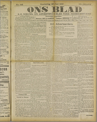 Ons Blad : katholiek nieuwsblad voor N-H 1919-06-26