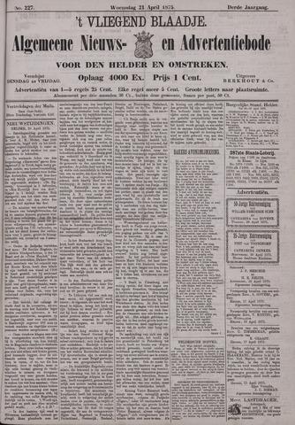 Vliegend blaadje : nieuws- en advertentiebode voor Den Helder 1875-04-21