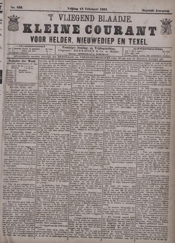 Vliegend blaadje : nieuws- en advertentiebode voor Den Helder 1881-02-18