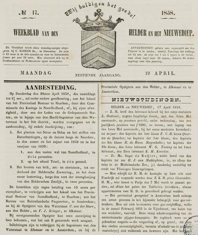 Weekblad van Den Helder en het Nieuwediep 1858-04-19
