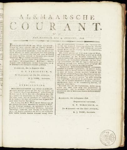 Alkmaarsche Courant 1816-08-19