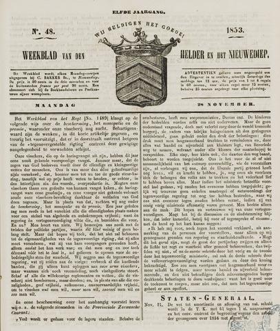 Weekblad van Den Helder en het Nieuwediep 1853-11-28