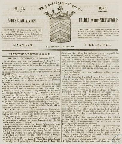 Weekblad van Den Helder en het Nieuwediep 1857-12-14