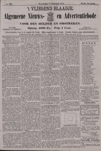 Vliegend blaadje : nieuws- en advertentiebode voor Den Helder 1875-02-17