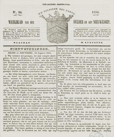 Weekblad van Den Helder en het Nieuwediep 1854-08-21