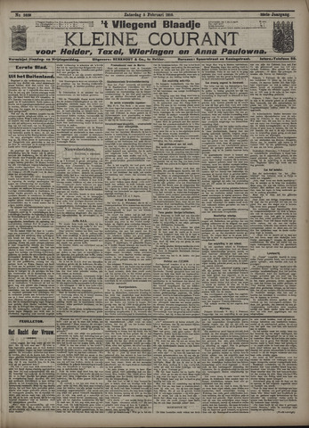 Vliegend blaadje : nieuws- en advertentiebode voor Den Helder 1910-02-05