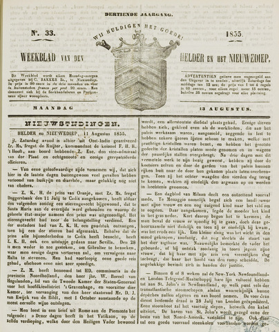 Weekblad van Den Helder en het Nieuwediep 1855-08-13
