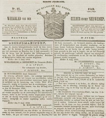 Weekblad van Den Helder en het Nieuwediep 1843-06-12