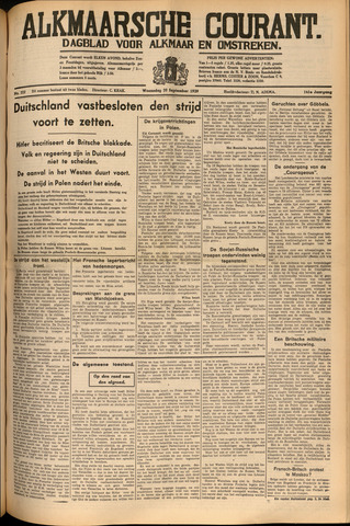 Alkmaarsche Courant 1939-09-20