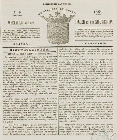 Weekblad van Den Helder en het Nieuwediep 1855-02-05