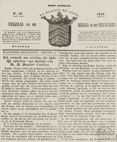 Weekblad van Den Helder en het Nieuwediep 1848-08-07