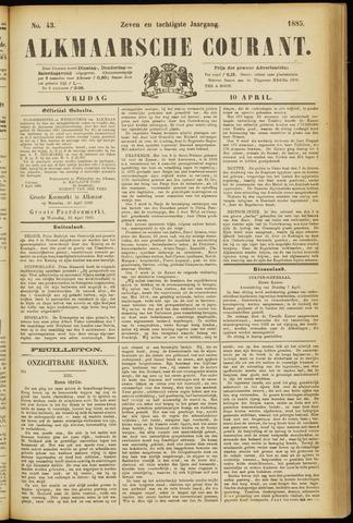 Alkmaarsche Courant 1885-04-10