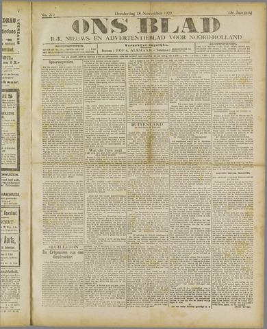 Ons Blad : katholiek nieuwsblad voor N-H 1920-11-18