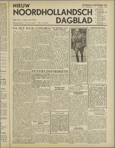 Nieuw Noordhollandsch Dagblad : voor Alkmaar en omgeving 1945-09-22
