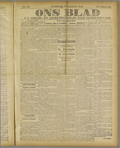 Ons Blad : katholiek nieuwsblad voor N-H 1919-08-07