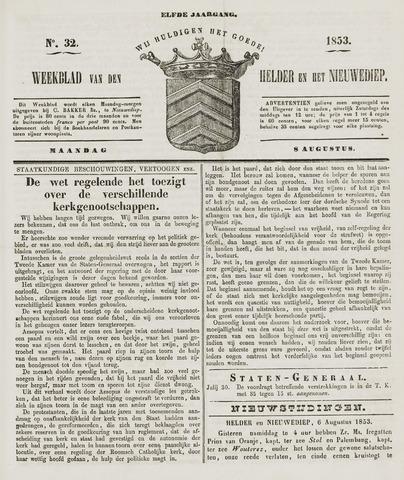 Weekblad van Den Helder en het Nieuwediep 1853-08-08