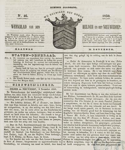 Weekblad van Den Helder en het Nieuwediep 1850-11-11