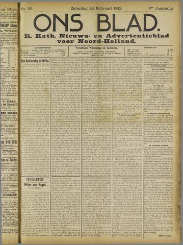 Ons Blad : katholiek nieuwsblad voor N-H 1912-02-24