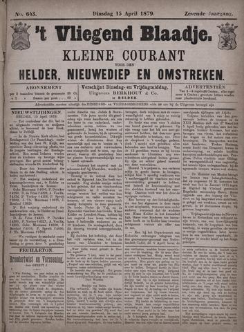 Vliegend blaadje : nieuws- en advertentiebode voor Den Helder 1879-04-15