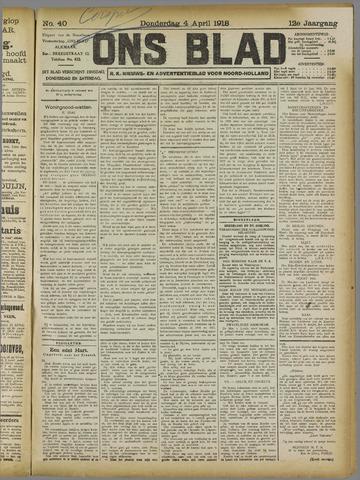 Ons Blad : katholiek nieuwsblad voor N-H 1918-04-04