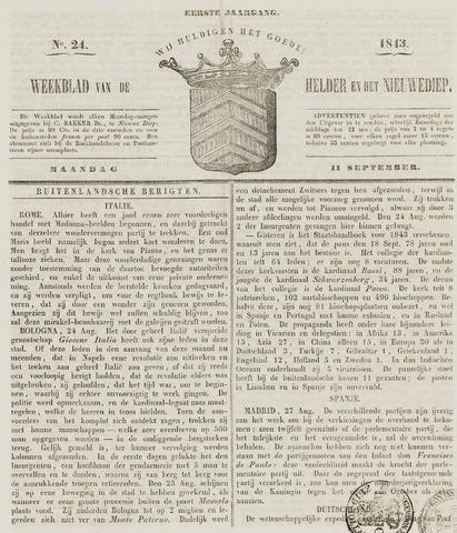 Weekblad van Den Helder en het Nieuwediep 1843-09-11