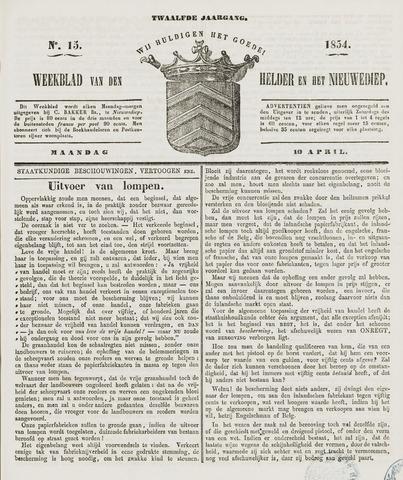 Weekblad van Den Helder en het Nieuwediep 1854-04-10