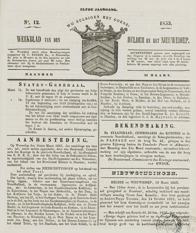 Weekblad van Den Helder en het Nieuwediep 1853-03-21